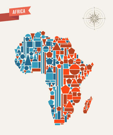 Africa map made with geometric elements. Vector