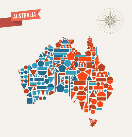 Australia map geometric shapes illustration. Çizim