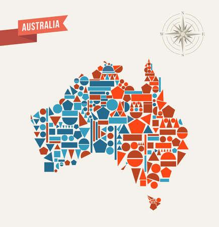 continente: Australia mapa de formas geométricas ilustración. Vectores