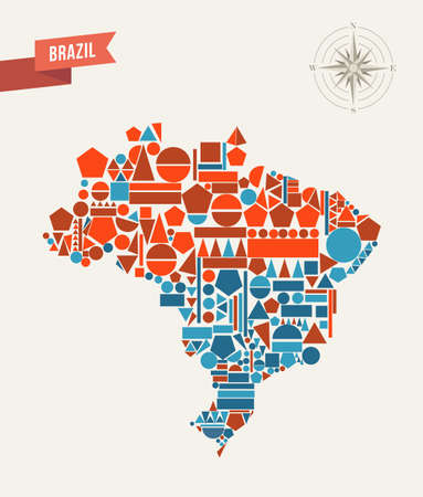 Brazil map geometric elements illustration.  Vector