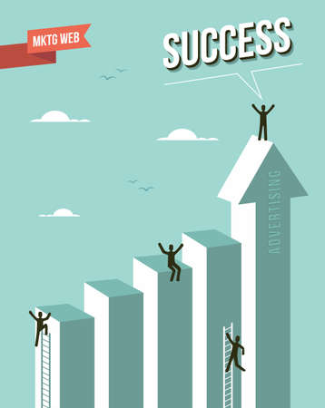 Web marketing Success chart illustration.  Vector