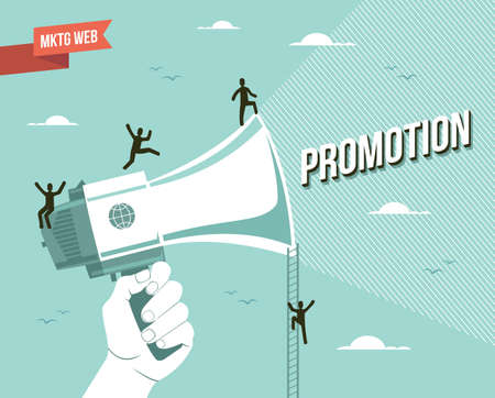 marketing research: Web marketing promotion illustration.   Illustration