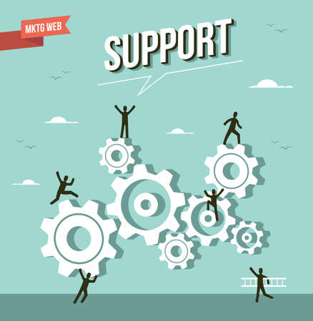 Web marketing gear wheel support illustration.   Illustration