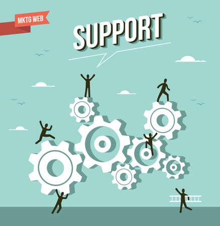 schöpfung: Web-Marketing-Zahnrad Unterstützung Illustration. Illustration