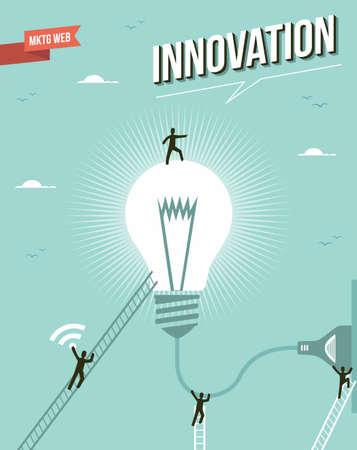 Innovation light bulb idea marketing concept illustration.