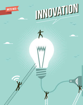 Innovation light bulb idea marketing concept illustration.  Vector