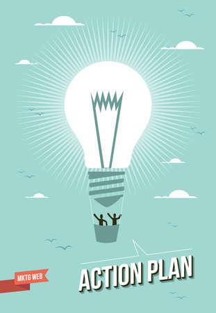 corporate social: Web marketing lampadina azione piano palloncino illustrazione.
