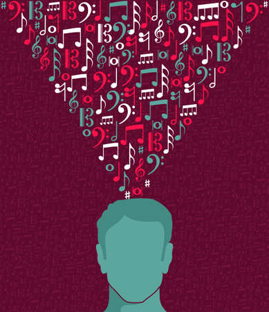 Music notes human male head concept illustration. Stock Vector - 21280337