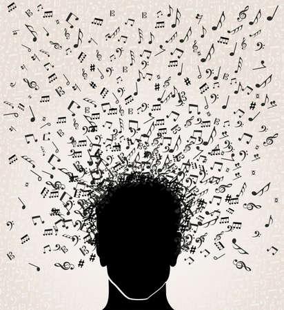 clave de fa: Cabeza humana con notas musicales que salen, fondo blanco. Vectores