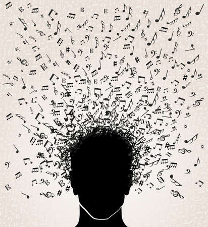 download music: Human head with music notes coming out, white background.