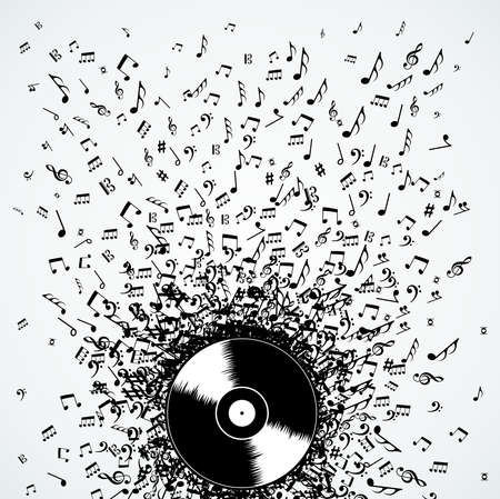 Dj vinyl record music notes splash illustration.