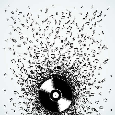 vinyl record: Dj vinyl record music notes splash illustration.