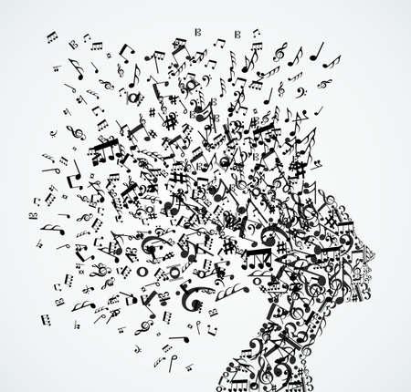 女性のヘッド図からの音楽ノートのスプラッシュ。