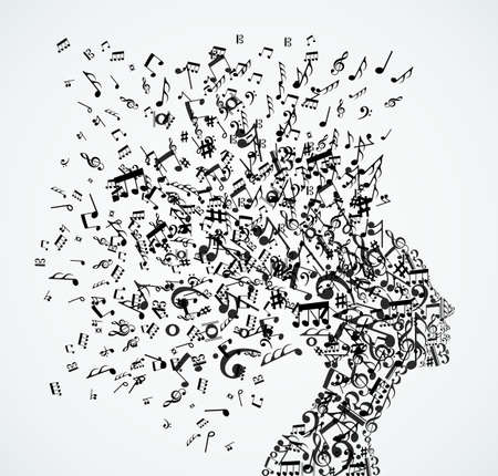 notes music: Music notes splash from womans head illustration.