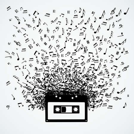 Random music notes splash cassette illustration. Stock Vector - 21280334