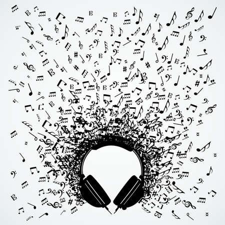 Dj のヘッドフォンのランダムな音楽ノート スプラッシュの図。  イラスト・ベクター素材