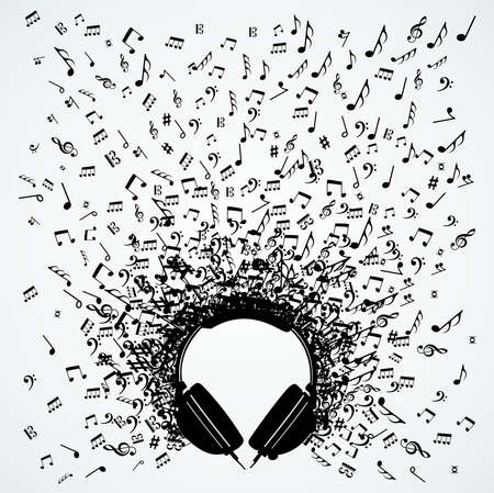 headphones icon: Dj headphones random music notes splash illustration.