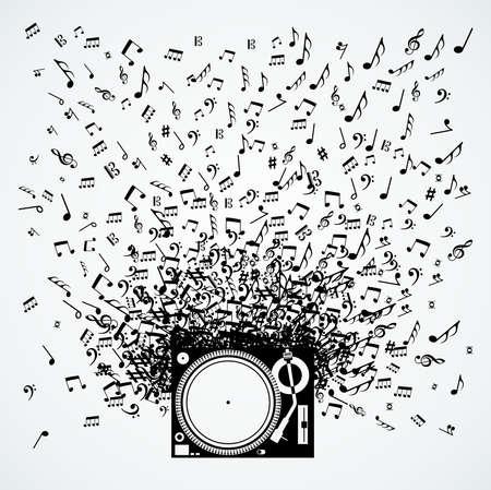 Dj draaitafel muziek nota plonsillustratie.