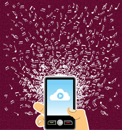 Human hand holds a  smart phone random music notes splash. Stock Vector - 21280297