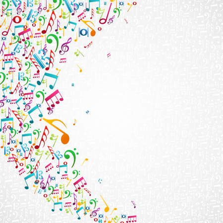stave: Colorful random music notes isolated background.
