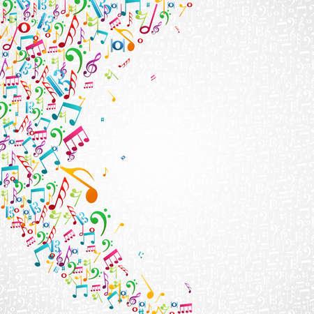 pentagrama musical: Música aleatoria coloridas notas fondo aislado. Vectores