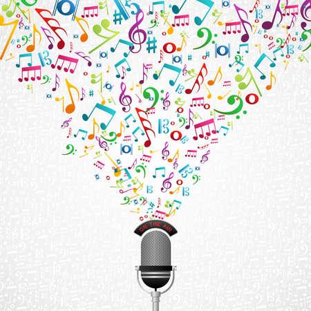 Micrófono colorido notas de la música de bienvenida.