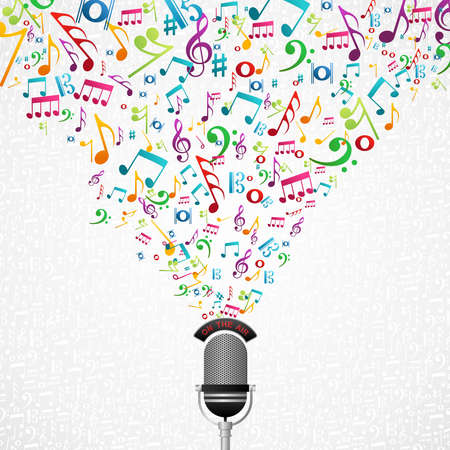 download music: Microphone colorful music notes splash.