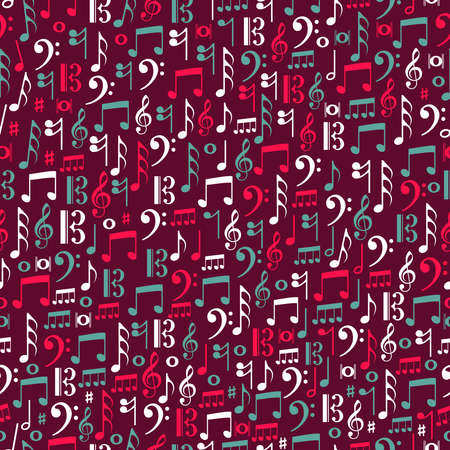 Musica note colorate senza soluzione di continuità illustrazione.