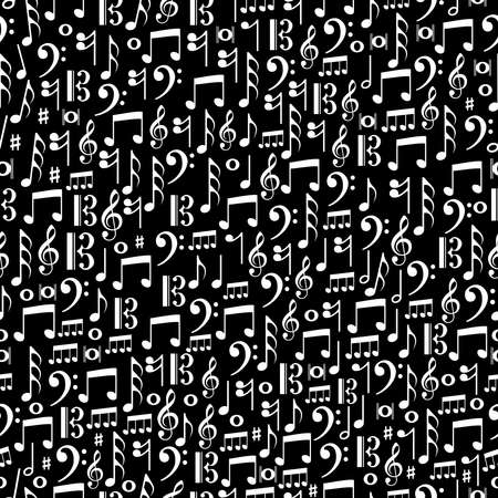 crotchets: Random music notes seamless pattern illustration.