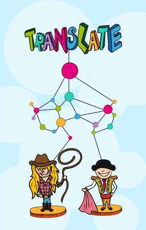 Translation net concept. Australian woman and spanish man cartoon illustration.  Illustration