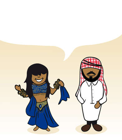 Arabian man and woman cartoon couple with social media bubble.  Illustration