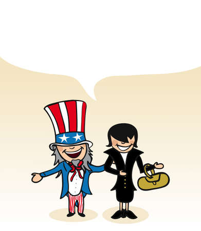 american media: American man and woman cartoon couple with social media bubble.  Illustration