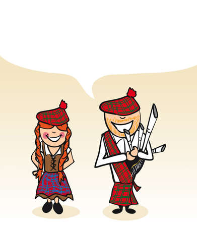 Scottish man and woman cartoon couple with social media bubble. Stock Vector - 21280310