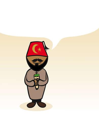 turkish man: Turkish man cartoon couple with social media bubble.