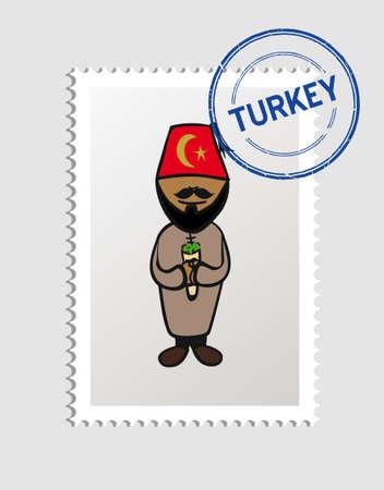 turkish man: Turkish man cartoon with turkey postal stamp.