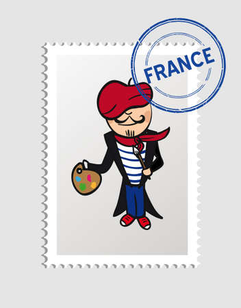 French person cartoon with france postal stamp.