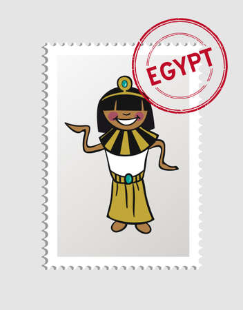 multi cultural: Egyptian Woman cartoon with Egypt postal stamp.  Illustration