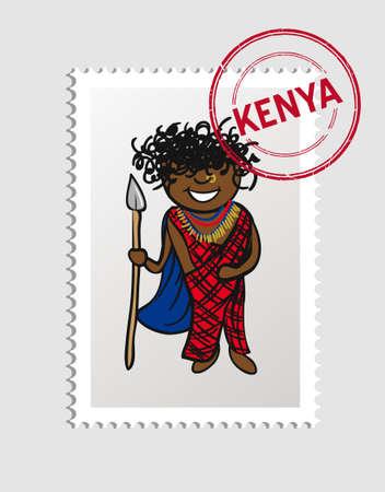 swahili: Kenyan Man cartoon with kenya postal stamp.