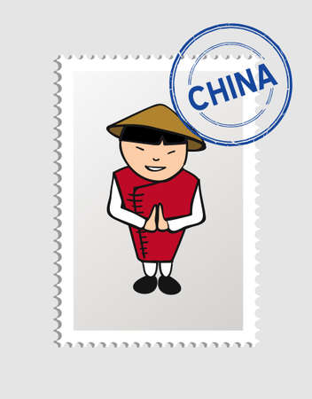 Chinese man cartoon with china postal stamp.  Vector