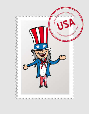 American Uncle Sam Man cartoon, USA postal stamp.  Vector
