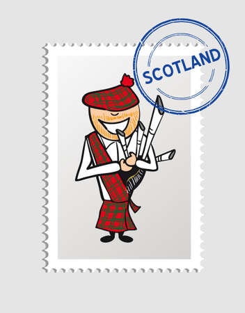 Scottish man cartoon with scotland postal stamp.  Иллюстрация