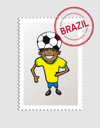 Brazilian man cartoon with brazil postal stamp.  Vector