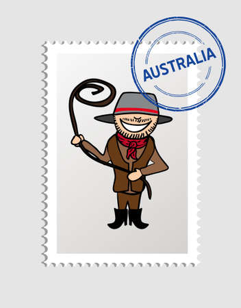 Australian Man cartoon with australia postal stamp.   Vector