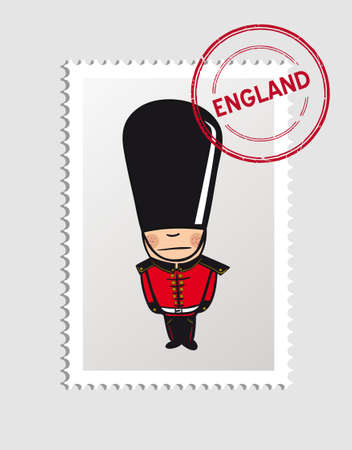 English Royal Guard Man cartoon, england postal stamp.   Vector