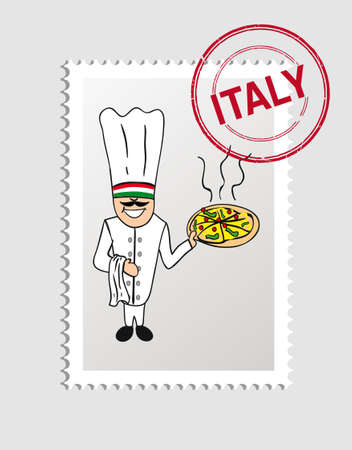 Italian Man cartoon with italy postal stamp.   Vector