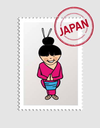 Japanese Woman cartoon with japan postal stamp.   Vector