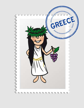 Greek woman cartoon with greece postal stamp.   Vector