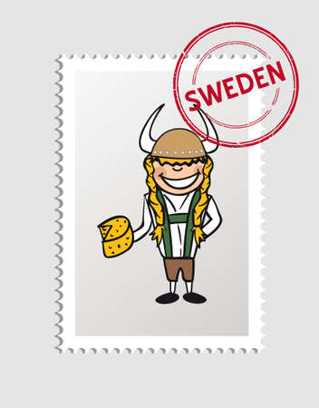 Swedish man cartoon with sweden postal stamp.   Vector