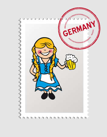 German Woman cartoon with germany postal stamp.   Vector