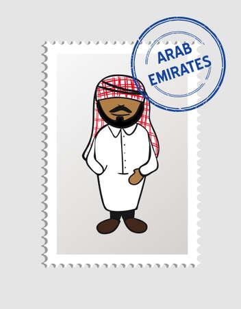 national cultures: Arabian man cartoon with arab emirates postal stamp.  Illustration